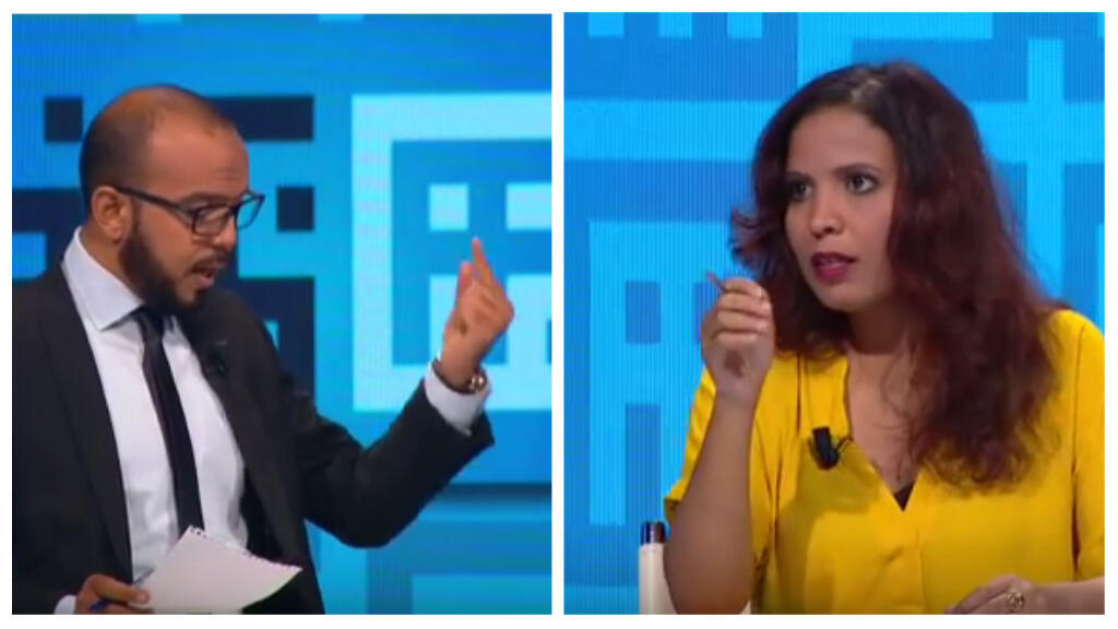 Screengrab of a televised debate between two young people trained by Munathara.