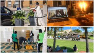 مسدس للماء المقدس، صلاة (الشبات) السبت اليهودي على الإنترنت، إعادة تنظيم للمساجد والاحتفالات الدينية في الخارج...تتأقلم دور العبادة مع مرض كوفيد-19 (صور من مواقع التواصل الاجتماعي).