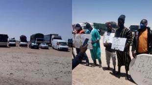 Des transporteurs sénégalais bloqués à la frontière mauritanienne en train de manifester à Bir Gandouz, mi-avril.