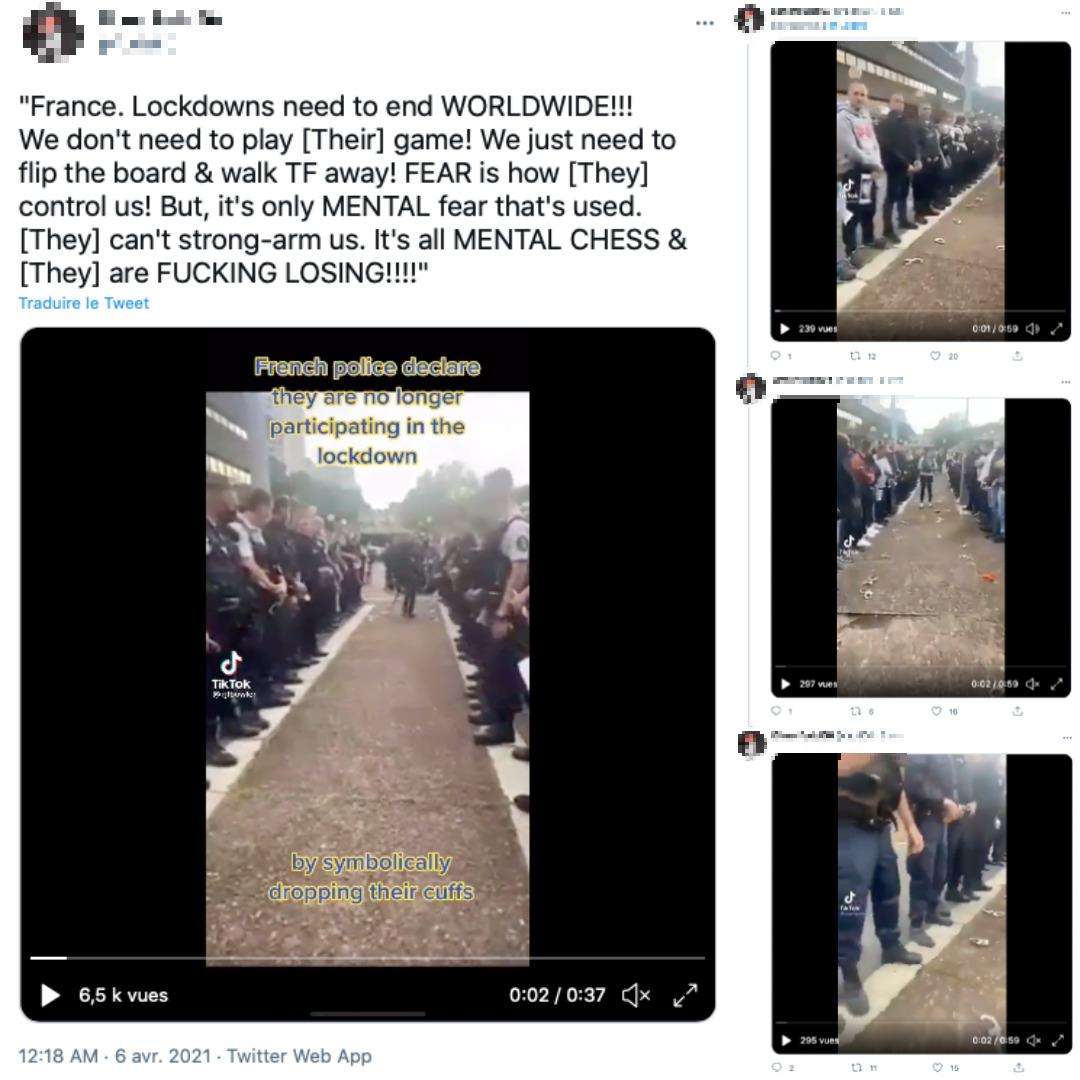 Cette suite de tweets montre quatre extraits différents de la vidéo originale, tous postés sur TikTok par des Américains.