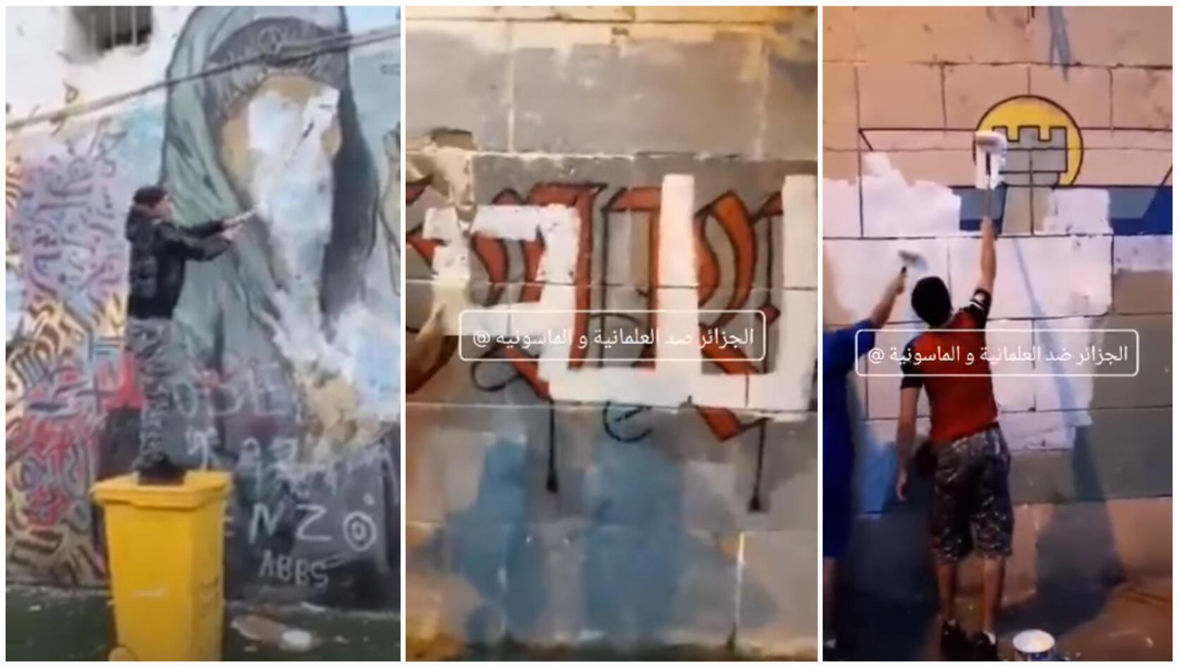 À gauche, un des trois individus qui ont vandalisé la fresque murale à Alger Centre. Au milieu et à droite, une autre fresque qui avait été recouverte elle aussi de peinture, à la Casbah d'Alger. Captures d'écran.