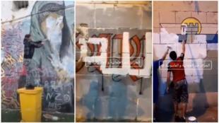 در سمت چپ این مرد یکی از سه نفری است که اقدام به تخریب نقاشیهای دیواری در هفتههای اخیر در شهر الجزیره پایتخت الجزایر کرده است. دو عکس دیگر اقدام مشابهی را در سال گذشته نشان میدهد.
