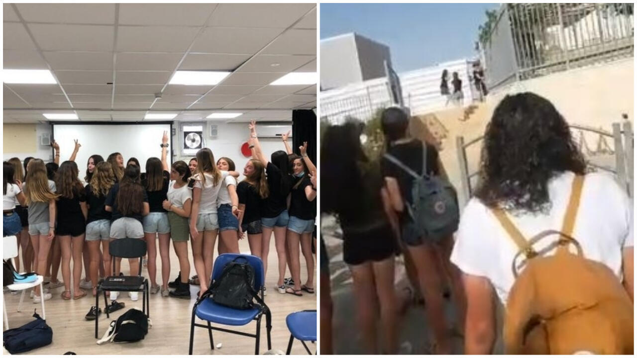 Students protesting on 19 and 20 May in schools in Ra'anana (left) and Modiin (right). Screen captures from Twitter.