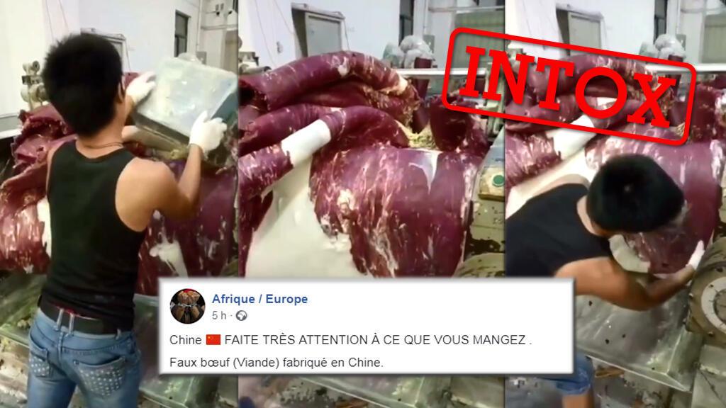Une vidéo circule et est présentée comme le processus de production de fausse viande de boeuf en Chine... c'est une intox.