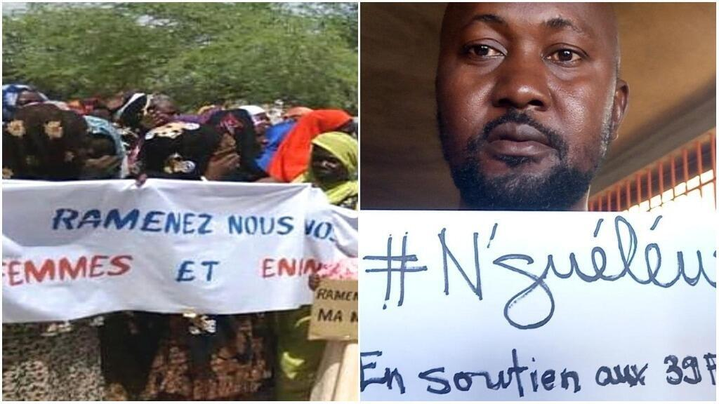 The photo (left) shows a protest held last July in Nguigmi, a town near Nguéléwa. The photo (right) shows a participant in the #JeSuisNguéléwa campaign.