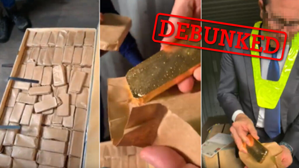 Screengrabs from the video showing the gold bars.
