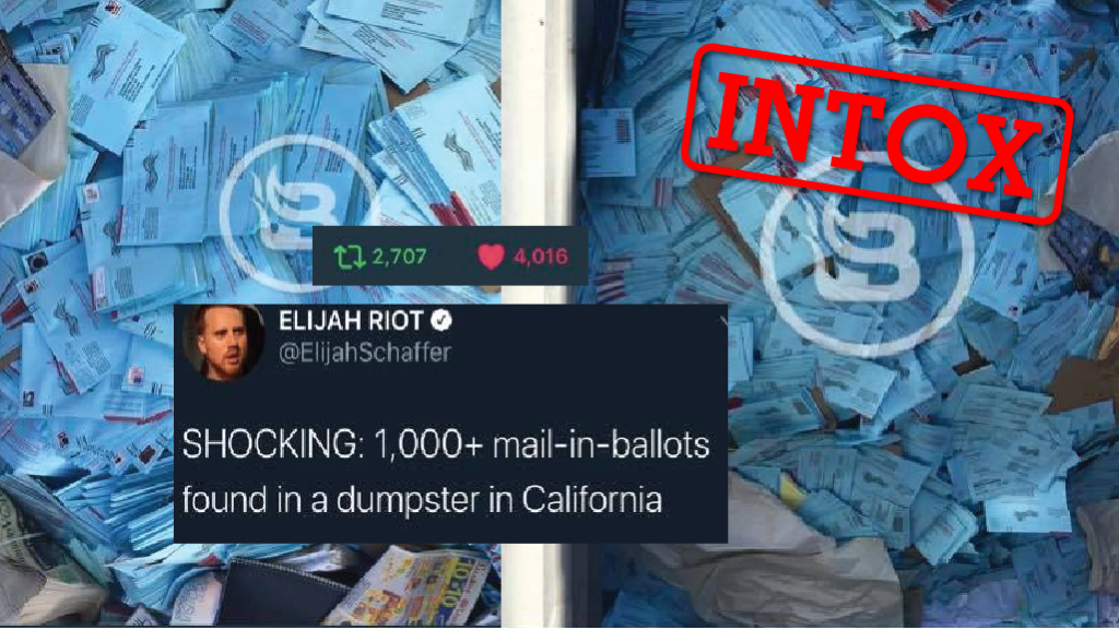 Capture d'écran du tweet viral d'Elijah Schaffer posté le 25 Septembre 2020 affirmant que des votes par procuration pour l'élection présidentielle ont été jetés à la poubelle.