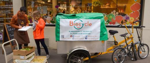 Biocycle volunteers ride around the French capital every day on their three-wheel electric bikes.