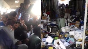 Photos des destructions dans le camp de Manus et du déplacement des demandeurs d'asile publiées sur Twitter.