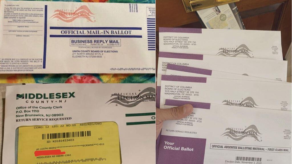 Photos publiées par plusieurs internautes sur les réseaux sociaux montrant des votes par correspondance envoyés par erreur à des anciens habitants, ou à des personnes décédées dans le cadre de l'élection présidentielle américaine du 3 novembre prochain.
