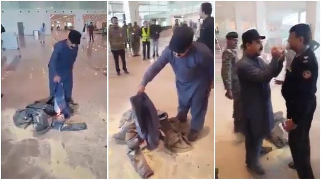 Screengrabs of a video showing Fida Hussain, minister for tourism in the Gilgit-Baltistan provincial government, burning his clothes in Islamabad Airport on November 16, 2018..