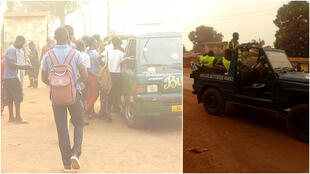 The image on the left shows passengers scrambling to get on the bus. The image on the right shows a police patrol making sure residents comply with rules brought in with the state of emergency declared in Bimbo, west of Bangui, on January 26, 2021.