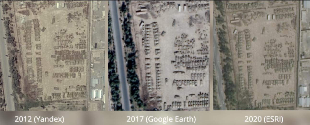 3 captures d'écran issues des images satellites exploitées par Yandex, Google Earth et ESRI
