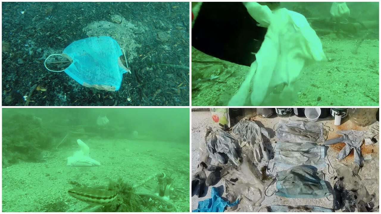 """The Clean Sea Operation (in French, """"Opération Mer Propre"""") picked up dozens of surgical masks and latex gloves during two dives this weeked."""