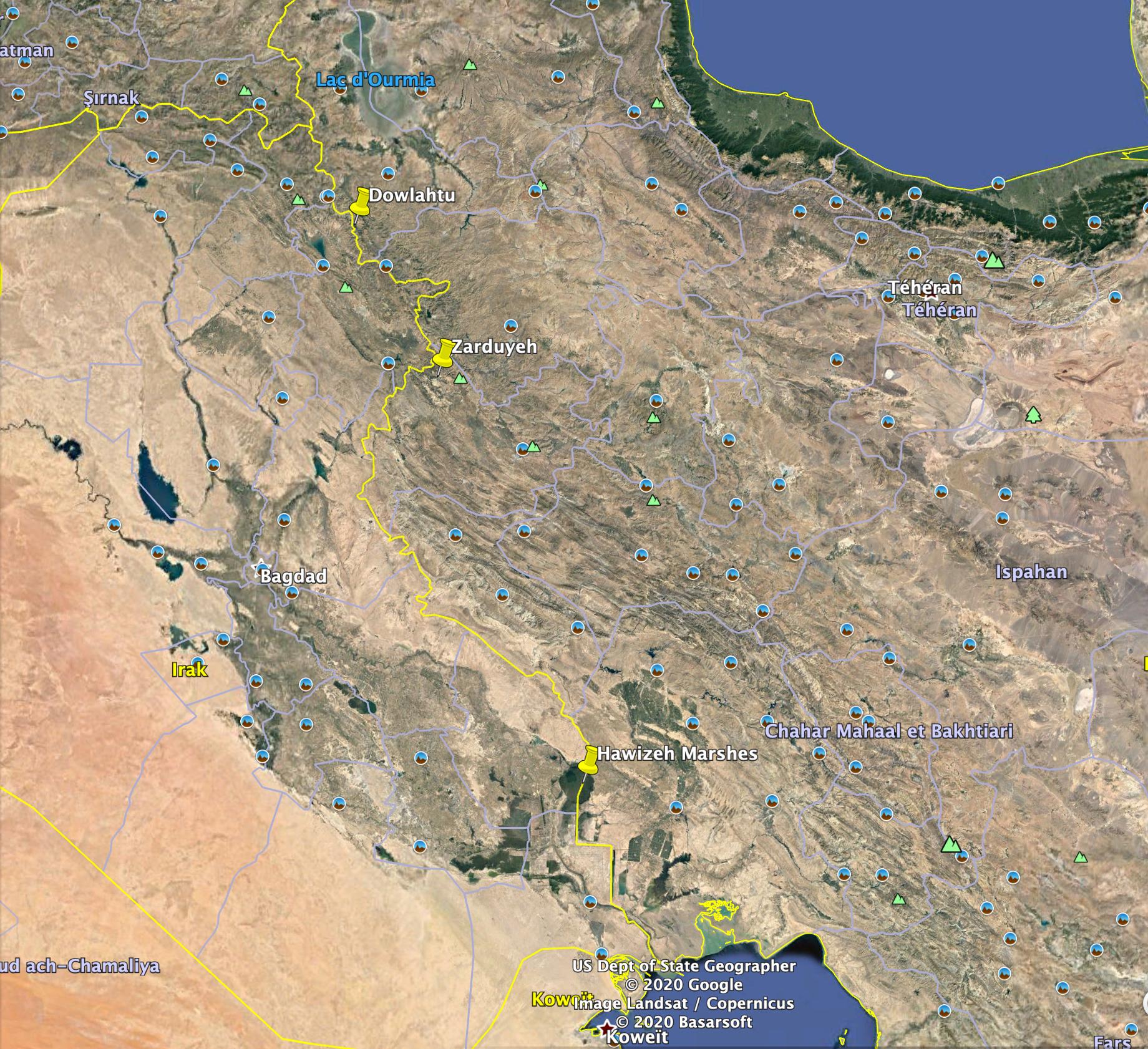 Comme on peut le voir sur cette carte, le trafic de moutons a été documentés dans plusieurs villages à la frontière entre l'Iran et l'Irak du nord-ouest au sud-oues