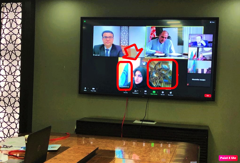 Highlighting the background in a photo posted on the Afghan Revenue Department's Facebook account on October 10, 2020 during a video conference with local offices.