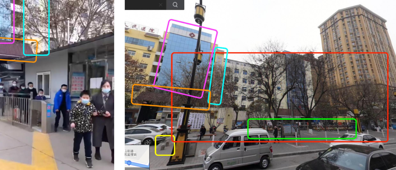"""صورة شاشة مأخوذة من الفيديو المتداول على نطاق واسع (على اليسار) ومشهد عام للمستشفى من الشارع عبر أداة ''توتال فيو""""."""
